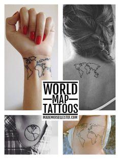 Tattoo idea world map / Mademoiselle Stef