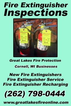 Fire Extinguisher Inspections Cornell, WI (262) 798-0444.. Local Wisconsin Businesses you have found the complete source for Fire Protection. Fire Extinguishers, Fire Extinguisher Service.. We're got you covered.. Great Lakes Fire Protection
