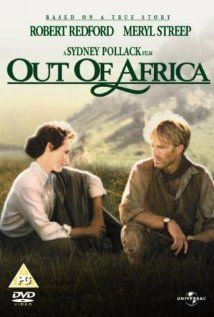 Out of Africa (1985), Robert Redford, Meryl Streep, Klaus Maria Brandauer, Michael Kitchen, Malick Bowens; directed by Sydney Pollack, based on the book by Isak Dinesen. Won 7 Academy Awards from 11 nominations.