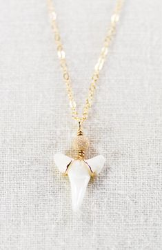 Mano necklace - gold shark tooth pendant necklace, gold shark tooth on gold filled chain, delicate, modern, everyday necklace, maui, hawaii