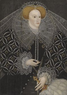 English School CIRCA 1595 PORTRAIT OF ELIZABETH I (1533-1603) oil on panel 89 by 63 cm.; 35 by 24 ¾ in.