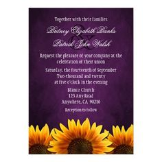 Shop Chalkboard Purple Sunflower Wedding Invitations created by natureprints. Personalize it with photos & text or purchase as is! Wedding Matches, Wedding Rsvp, Fall Wedding, Our Wedding, Wedding Ideas, Dream Wedding, Wedding Stuff, Wedding Colors, Wedding Book