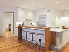 8 Top And Modern Kitchen Bar Design Ideas Bar Counter Design, Kitchen Bar Design, Modern Kitchen Island, Kitchen Island With Seating, Kitchen Islands, Kitchen Contemporary, Stylish Kitchen, Farmhouse Kitchen Lighting, Modern Farmhouse Kitchens