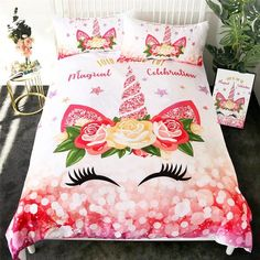 Buy Unicorn Floral Bedding Set online up to off + free worldwide shipping. Find the perfect Unicorn Floral Bedding Set present, novelty games and toys. Toddler Girl Bedding Sets, Teen Bedding, Quilt Bedding, Girls Bedspreads, Comforters, Unicorn Bed Set, Unicorn Rooms, Hotel Collection Bedding, Bed Sets