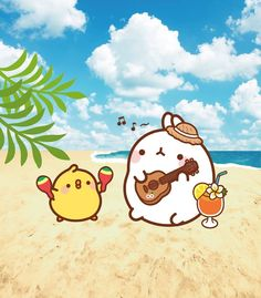 Molang and piu piu on a tropical vacation