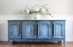 Antique French Provincial Blue Buffet / Sideboard