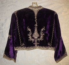 Gorgeous Mid 19th Century Purple Embroidered Velvet Turkish Harem Bolero Jacket