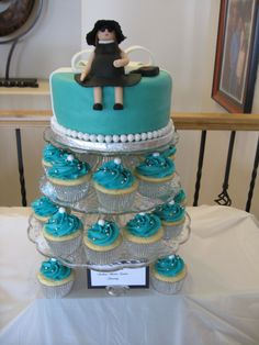 Tiffany theme cupcakes and cake baby shower