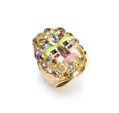 Arcimboldo Spring ring in yellow gold, precious and semiprecious stones