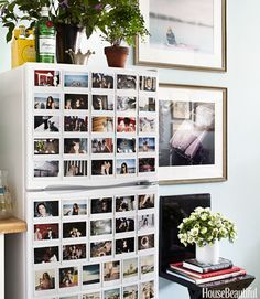if you are going to put photos on your fridge ... Refrigerator Decor The refrigerator was transformed into a mini art gallery.