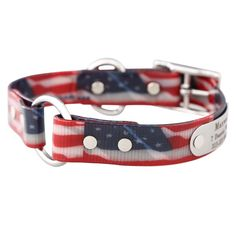 Made in the USA, the Personalized American Flag Safety Dog Color is waterproof, odor resistant and weather proof. Get your patriotic dog collar today!
