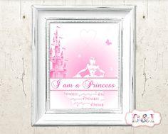 I am a princess -  Pink Wall Art Print ~ Instant download, JPG  PDF Printable