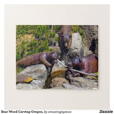 Bear Wood Carving Oregon. Jigsaw Puzzle