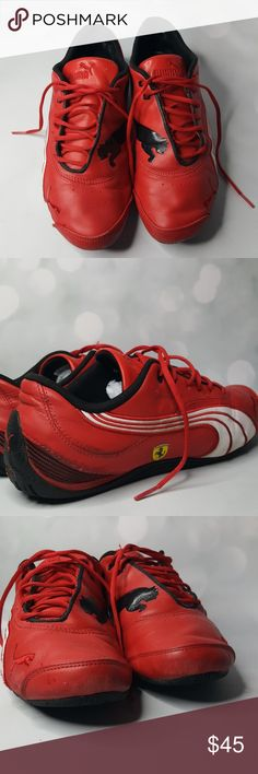 1962151b697ea9 Puma shoes Ferrari red and black with white stripes shoes. Size in  pictures. Pictures