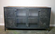 Custom Made Liquor Cabinet Bar Vintage/Modern Industrial Reclaimed Wood Top & Steel Urban. Cupboard.