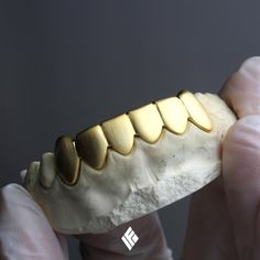 Yellow Gold Satin-finished Solid Gold Bottom 6 teeth grill for Gold Teeth Grillz, Gold Slugs, Grills Teeth, Gold Grill, Diamond Are A Girls Best Friend, Fashion Rings, Custom Jewelry, Grilling, Bling