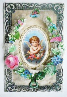 Very Rare Ornate Early Victorian 3-D Valentine. Silk Background with Paper Lace