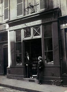 James Joyce and Sylvia Beach at Shakespeare and Co, Paris. 1925