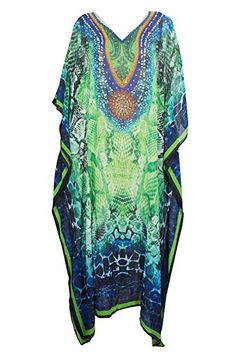 b3d096327b Mogul Interior Womens Caftan Dress Green Digital Printed Beach Kimono  Kaftan One Size Beach Kimono,