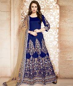 Buy Blue Banglori Silk Long Anarkali Suit 72701 online at lowest price from huge collection of salwar kameez at Indianclothstore.com.