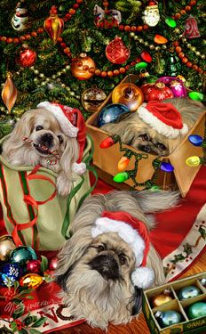 """New for 2012! Pekingese Christmas Holiday Cards are 8 1/2"""" x 5 1/2"""" and come in packages of 12 cards. One design per package. All designs include envelopes, your personal message, and choice of greeting. Select the inside greeting of your choice from the menu below.Add your custom personal message to the Comments box during checkout."""