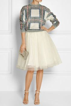 New Year's Eve Look. Tutu. Comfy Sweater. Nice Heels. Stunning accessories.
