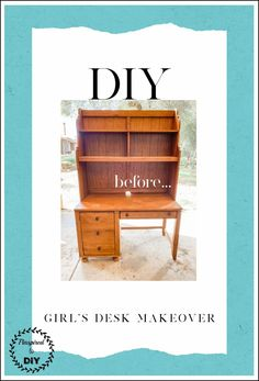 Need a computer desk or student desk for your kids bedroom? One idea is to purchase a used or old wood desk and complete a DIY desk makeover with some paint. Step by step tutorial with before and after pictures of the desk transformation from brown oak to a bright and white desk.