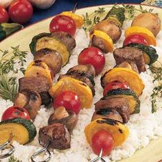 Summer+Beef+Skewers.... Could use a store bought marinade and it would be just as good!
