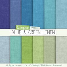 """Blue green linen digital paper: """"BLUE & GREEN LINEN"""" with blue / green / teal / lime / gray / turquoise boys linen backgrounds / textures #clipart #download"""
