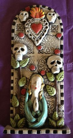 Day of the Dead Ceramic High Relief Tile 3D by CreativeCellar, $95.00