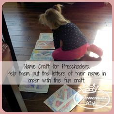 A fun craft to help teach kids how to put the letters in order to spell out their name. Perfect for preschoolers. #kidscrafts #letterscraft #learningkids