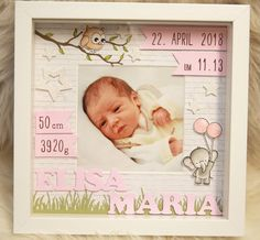 Personalized gift for birth in the frame A baby frame for my Etsy shop Baby Room Colors, Baby Room Decor, Baby Frame, Birth Gift, Baby Scrapbook, Box Frames, Baby Cards, Baby Pictures, Diy For Kids