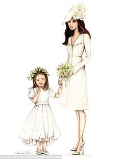 Kate Middleton and daughter Charlotte: 'Had to sketch everyone¿s favourite little Princess, looking so adorable in her role of flower girl, she has certainly perfected her confident royal wave! Her beautiful mama so proud at her side,' Ms Graham wrote
