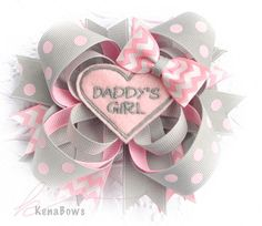DADDY'S GIRL Pink & Grey Boutique Hair Bow, Father's Day, Polka Dots, Chevron Ribbon, Birthday Bow, Baby Clip, Barrette, Toddler, Girl on Etsy, $12.95