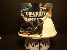 Video Game African American or Interracial Call of Duty Modern War Black Ops or MW3 Bride and Groom Funny Wedding Cake Topper on Etsy, $89.99