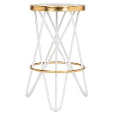 Devin Counter Stool, White/Gold $199.00