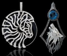 "Zebra, Wolf Pendants.  ""Master Exclusive"" Izhevsk Jewelry House, Russia"