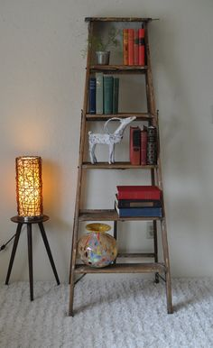Tall Antique Wood Painter's Ladder/5 Step Old Wooden Ladder/French Farmhouse Bookshelf/Industrial Portable Shelf