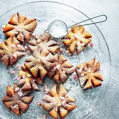 Snowflake beignets with peppermint sugar