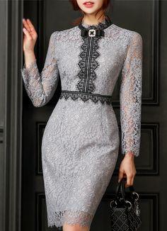 Korean Women`s Fashion Shopping Mall, Styleonme. Elegant Dresses, Beautiful Dresses, Nice Dresses, Iranian Women Fashion, Womens Fashion, Hijab Fashion, Fashion Dresses, Lace Dress, Dress Up