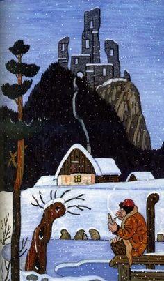 Josef Lada Hastrman v zimě (poslední Ladův vodník) 1957 malba kvaš Illustration Art, Illustrations, Close To My Heart, Czech Republic, Postcards, Folk Art, Scary, The Past, Creatures