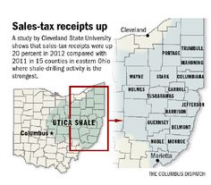 Ohio counties with Utica Shale drilling see 20% higher sales tax receipts from 2011 to 2012