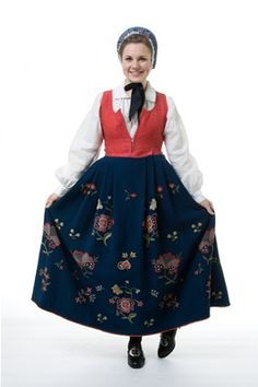 """""""Kvinnebunad fra Gudbrandsdalen (Womens bunad from Gudbrandsdalen)"""" with red damask waist and blue embroidered skirt from Gudbrandsdalen, Oppland, Norway (I think this color is the only option) Folk Costume, Costumes, Bridal Crown, Silver Accessories, Damask, Norway, Most Beautiful, Skirts, Red"""