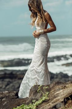 Stone Cold Fox: Scallop Lace Logan Gown in white | Soleil Blue