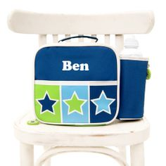 Personalised Gifts at Yayme! Personalized Lunch Bags, Personalized Gifts, Bright Stars, Kids Bags, Light Blue, Dark Blue, Little Ones, Chair, Children