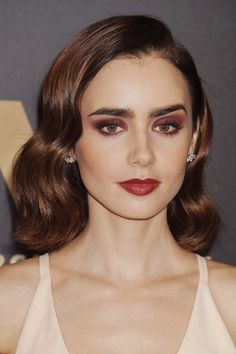 Lily Collins Wavy Dark Brown All-Over Highlights, Bob, Long Bob Hairstyle | Steal Her Style