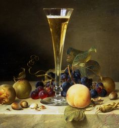 Johann Wilhelm Preyer Still Life With A Glass Of Champagne Art Painting