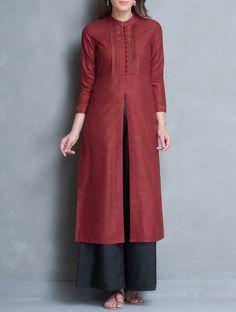 Red Mandarin Collar Thread Embroidered Matka Silk Kurta on Jaypore.com