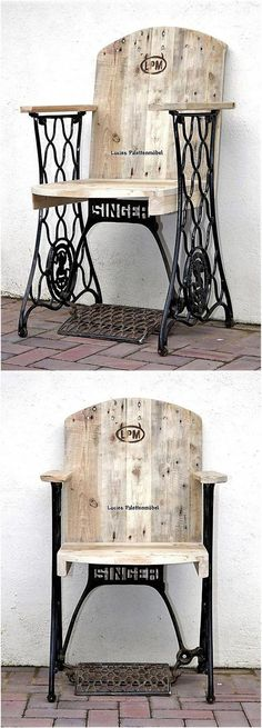 If someone thinks that creating the full furniture piece with the pallets looks inappropriate to place for adorning a room well, then here is an idea of creating reclaimed pallet chair with the stylish ready-made legs to make it look eye catching. Reclaimed Furniture, Repurposed Furniture, Pallet Furniture, Furniture Projects, Vintage Furniture, Wood Projects, Woodworking Projects, Furniture Design, Furniture Stores