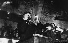 Robert Capa. Trotsky delivering his In Defence of October speech in Denmark in 1932, Capa's first published photograph